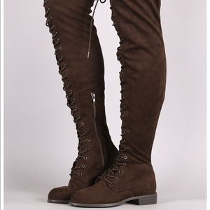 Shoes - Taupe suede lace up thigh high boots